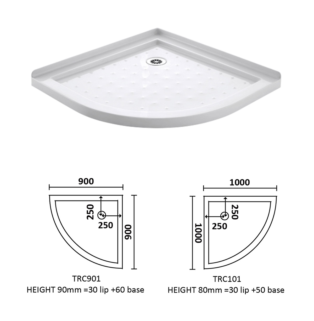 Corner Waste Arc Shower Tray 900*900 & 1000*1000--Shower tray ...